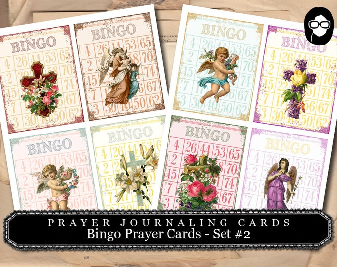 Illustrated Faith - Bingo Prayer Cards - Set #2 - 2  Page Instant Download - scripture art, bible journaling kit, printable verses