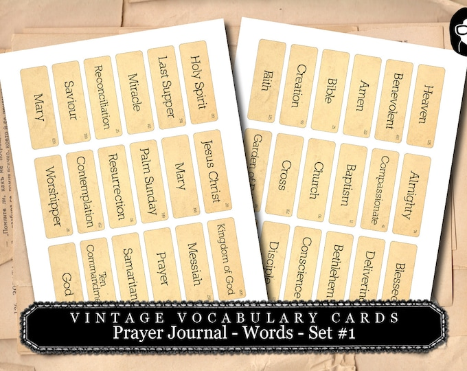 Prayer Journaling - Vintage Vocabulary Cards Set #1 - 2  Page Instant Download - scripture art, bible journaling kit, printable verses