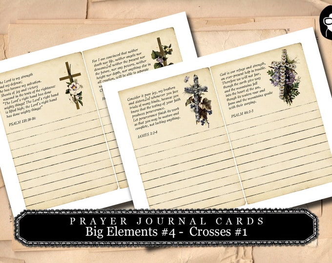 Prayer Printable - Big Elements #4 - Crosses #1 - 2 Pg Instant Download - digital journal card, digital download for junk journal