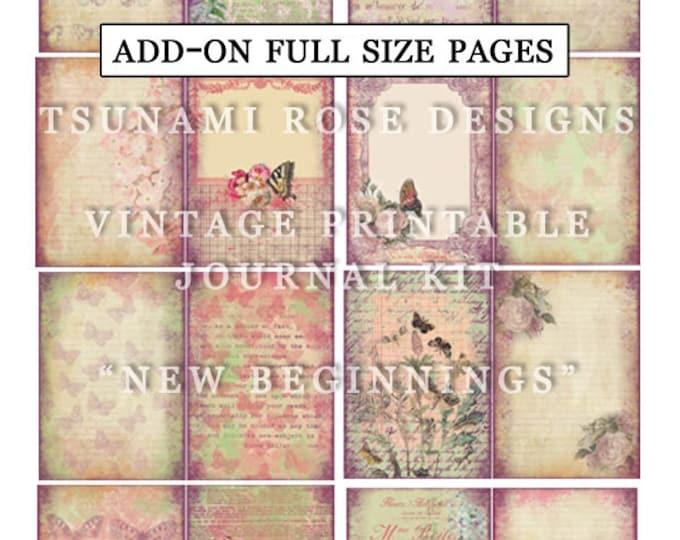 Floral Digital Paper - New Beginnings AddOn Full Size - 35 Journal Refill Pages - Vintage Journal, Vintage Floral, Journal Kit Download