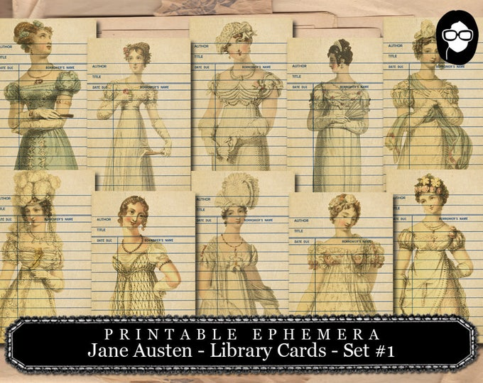 Jane Austen Print - Sense And Sensibility - Library Cards - 2 Pg Instant Download - pride and prejudice, jane austen quote, journal cards