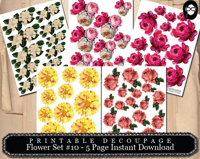 Digital Roses Floral - Decoupage Flowers Set #10 - 5 Page Instant Download - roses clipart floral, pink rose clipart, bouquet clipart