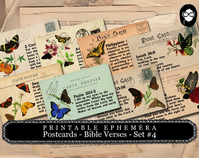 Illustrated Faith - Bible Verses Butterflies PostCards #4 - 2 Page Instant Download - scripture art, bible journaling kit, printable verses