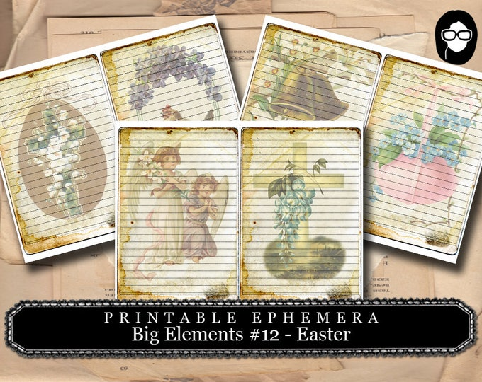 Digital Journal Card - Big Elements #12 Easter - 3 Page Instant Download - floral clipart, smashbook supplies, blank journal cards