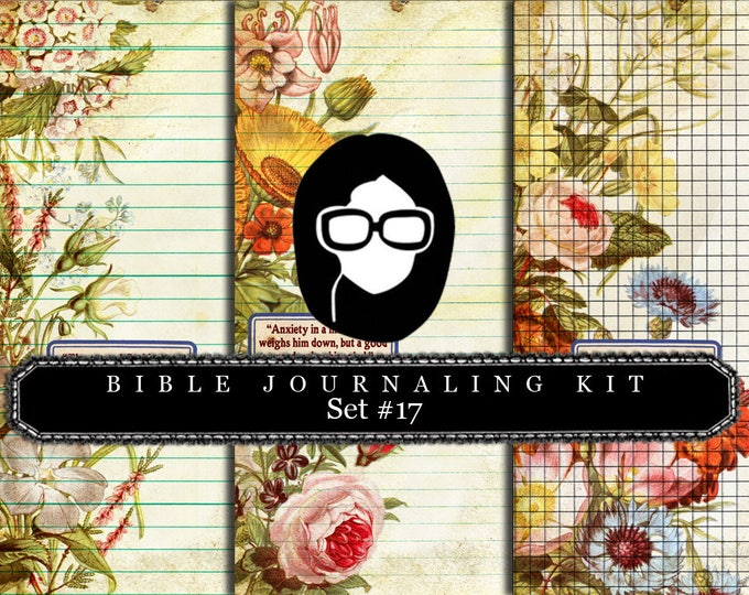 Bible Journaling Kit - Bible Verse Set #17 - 3 Pg Instant Downloads - digital rose paper, bible verses diy, prayer journaling, scripture art