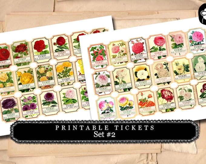 Printable Tickets - Set #2 - 2 Page Instant Download - vintage roses, vintage ticket printable, art journal card, ephemera paper pack