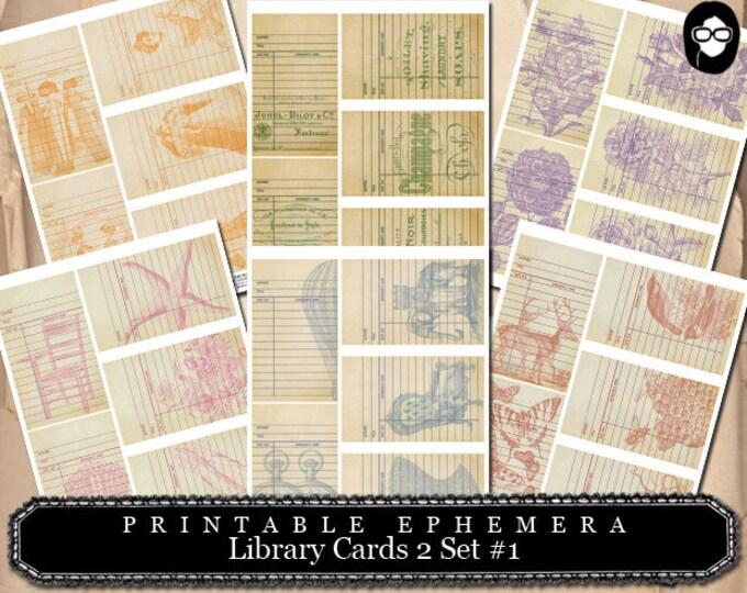 Digital Journal Kits - Library Cards 2 Set #1- 6 Page Instant Download - ephemera pack, altered art kit, junk journal kit, journaling kit