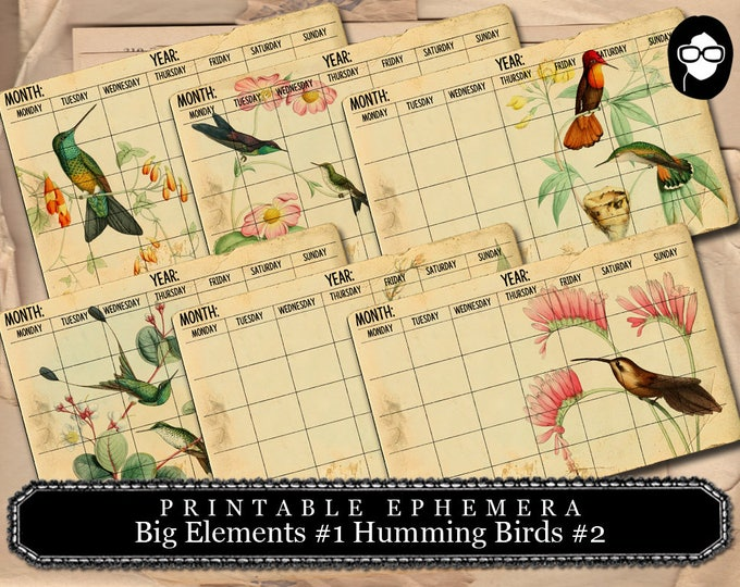 Printable Calendar - Big Elements #1 Hummingbird Calendar #2 - 3 Pg Instant Download - ephemera paper pack, journaling kit, art journal card
