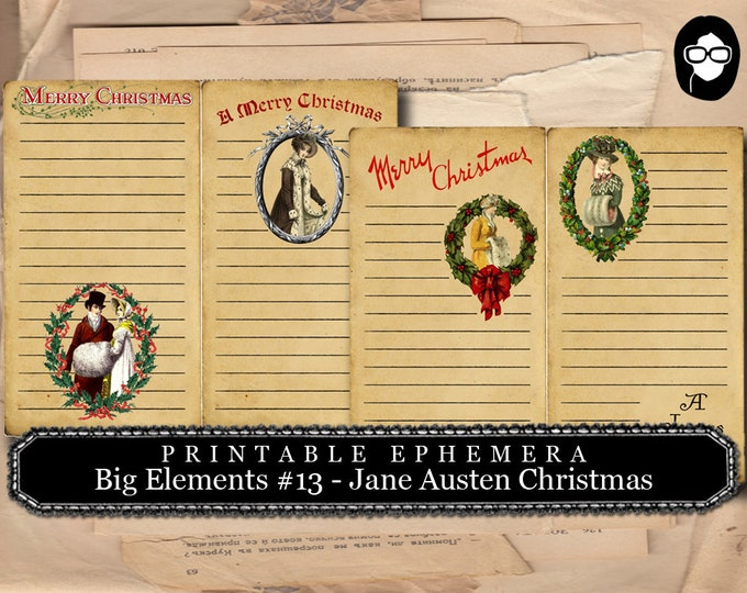 Jane Austen Christmas -  Big Elements #13 - 2 Pg Instant Downloads -  sense and sensibility pride and prejudice, jane austen quote