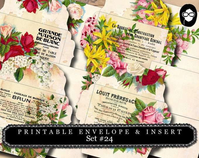 Envelope Templates & Insert - Set #24 - 8 Pg Instant download - envelope template, printable envelope, clipart floral, digital roses floral