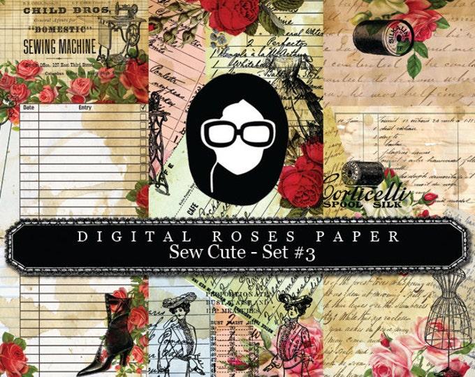 Rose Digital Paper - Sew Cute - Set #3 - 3 Pg Instant Downloads - digital rose paper, digital roses paper, digital paper packs