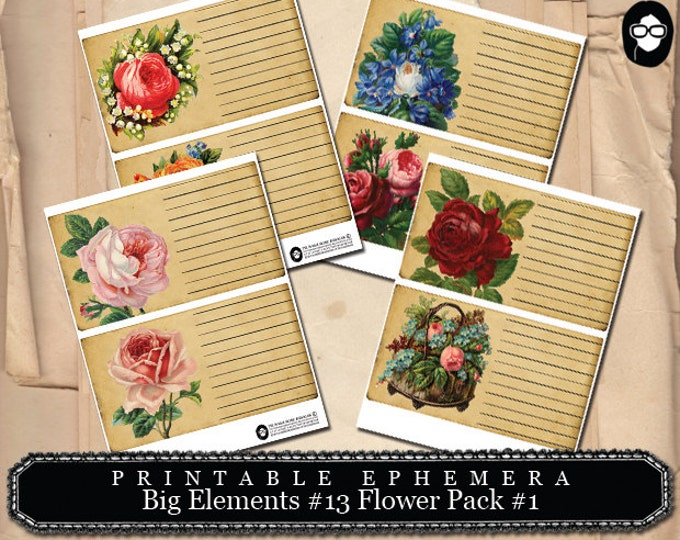 Blank Journal Cards - Big Elements #13 Flowers #1 - 4 Page Instant Download - digital journal kits, roses clipart floral, paper ephemera kit