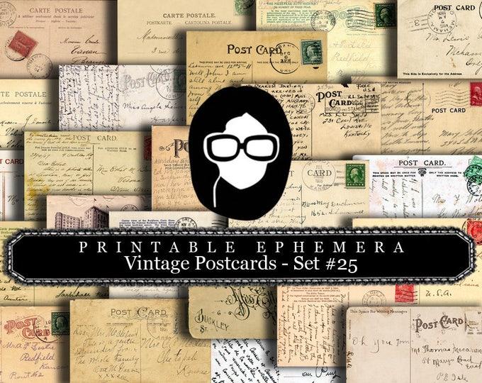 Ephemera Paper Pack - Vintage Postcards Set #25 - 15 Pg Instant Download - blank journal cards, digital journal kits, post card template
