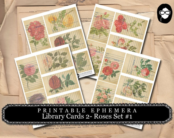 Ephemera Pack - Library Cards 2 Set #5 - 4 Page Instant Download - mixed media kit, junk journal supply, project life kit, roses clipart