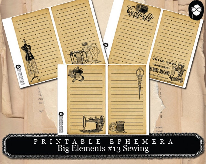 Sewing Room Print - Big Elements # 13 Sewing - 3 Page Instant Download - sewing printable, sewing art print, mixed media kit, note cards