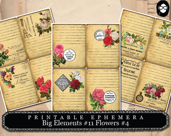 Altered Art Kit - Big Elements #11 Flowers #4 - 3 Page Instant Download -  digital collage, blank journal cards, digital journal kits