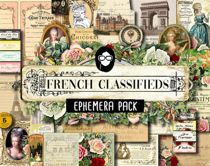 Paris Ephemera Kit - French Classifieds Ephemera Pack - 6 Pg Instant Download- junk paper pack, journaling kit, art journal card, printable