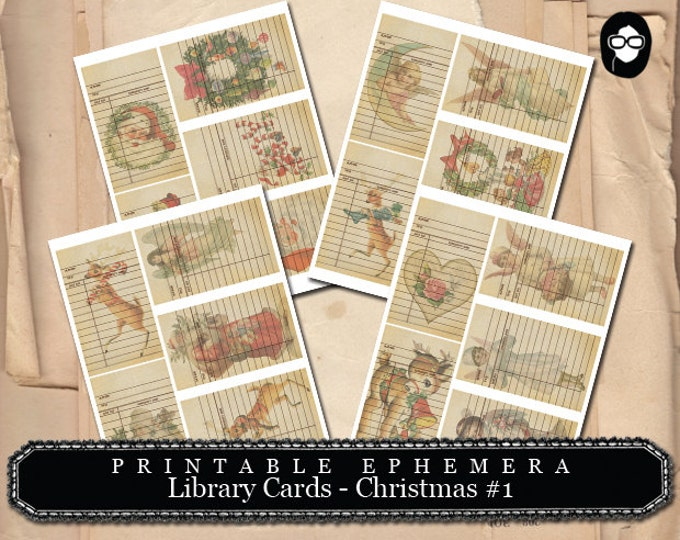 Christmas Clip Art - Printable Ephemera - Library Cards 2 - Christmas Set # 1- 4 Page Instant Download, christmas clip art, ephemera kit