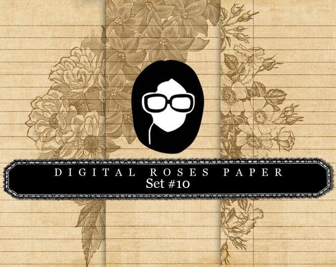 Floral Digital Paper - Set #10 - 3 Pg Instant Downloads - rose digital paper, digital roses paper, digital paper pack, best digital paper