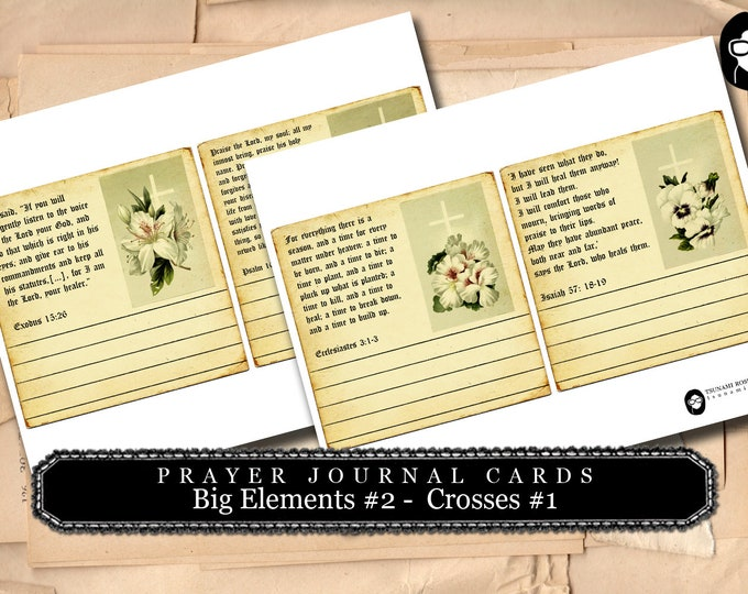 Prayer Journaling - Big Elements #2 - Crosses #1 - 2 Page Instant Download - scripture art, bible journaling kit, printable verses