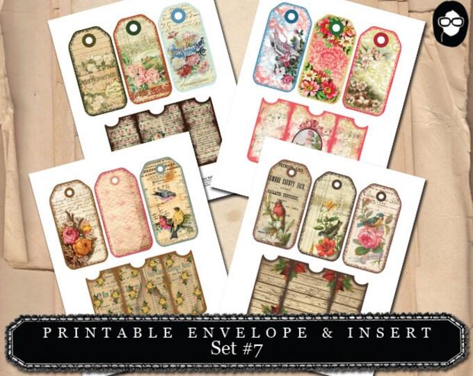 Printable Envelope & Insert Set #7 - 4 Page Instant download - envelope templates, envelope template, digital roses floral, digital collage