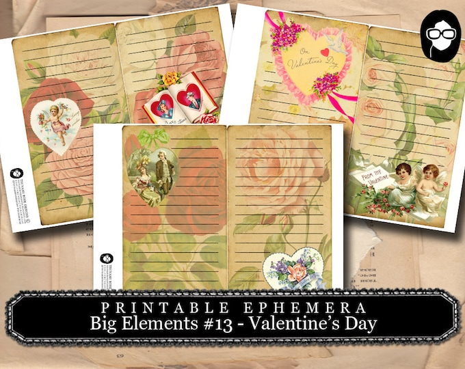 Junk Journal Supply - Big Elements #13 Valentine's Day - 3 Page Instant Download - project life kit, mixed media art kit, clipart floral