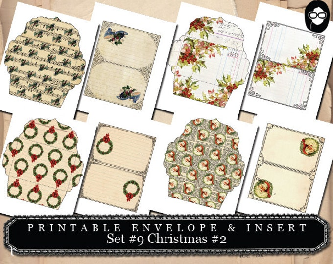 Envelope Templates - Printable Envelope & Insert -  Set # 10 Christmas # 2 - 8 Page Instant download - envelope template, clipart christmas