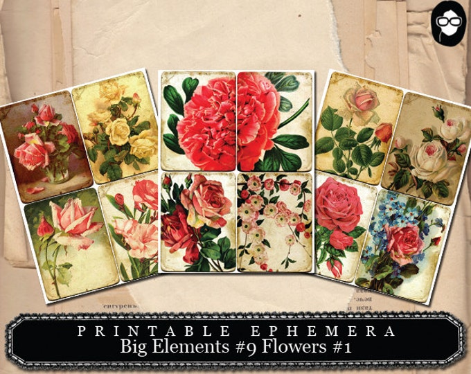 Journal Cards - Big Elements #9 Flowers #1 - 3  Page Instant Download -  roses clipart floral, paper ephemera kit, journaling cards