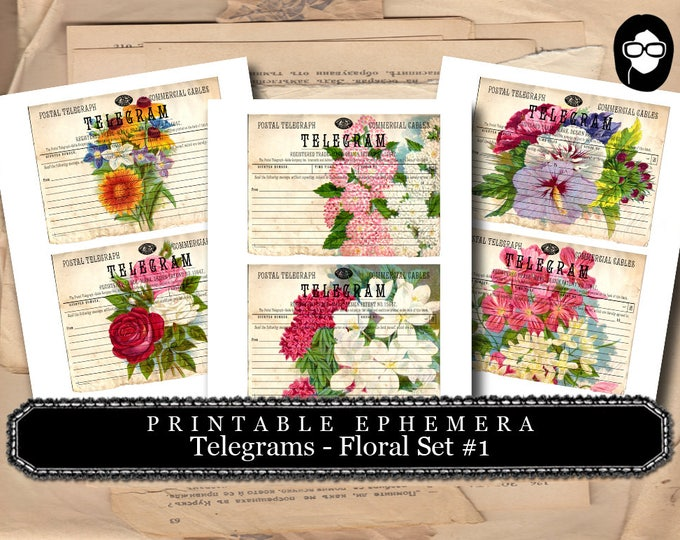 Bouquet Clipart - Telegram Floral Set #1 - 3 Page Instant Download - ephemera pack, altered art kit, junk journal kit, blank journal cards