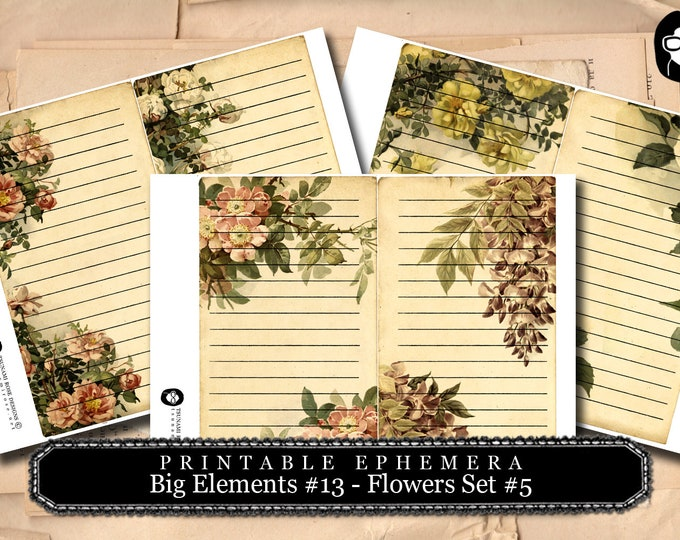 Blank Journal Cards - Big Elements #13 Flowers #5 - 3 Page Instant Download - floral clipart, journaling cards, journal card, smashbook kit