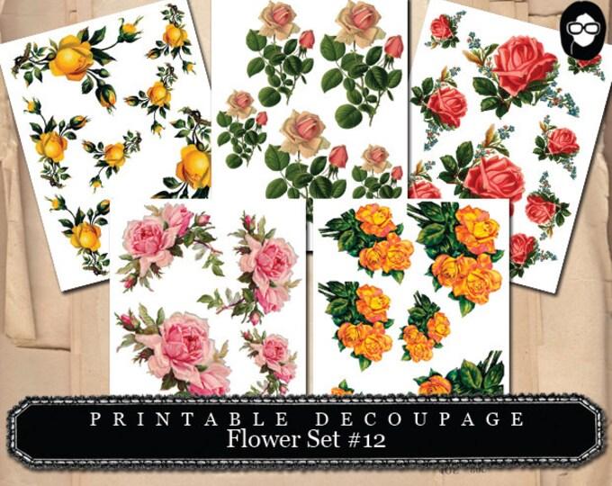 Clip Art Roses - Decoupage Flowers Set # 12 - 5 Page Instant Download -  instant download, clipart floral, roses clipart