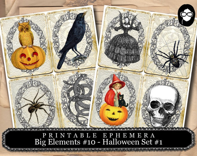 Halloween Print - Big Elements #10 Halloween Set #1 - 2 Page Instant Download - halloween cliparts, spooky digital paper, journaling cards
