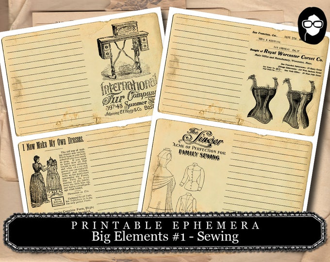 Sewing Art Print - Big Elements #1 Sewing Printable - 2 Page Instant Download - sewing room print, note cards, ephemera pack, journal card