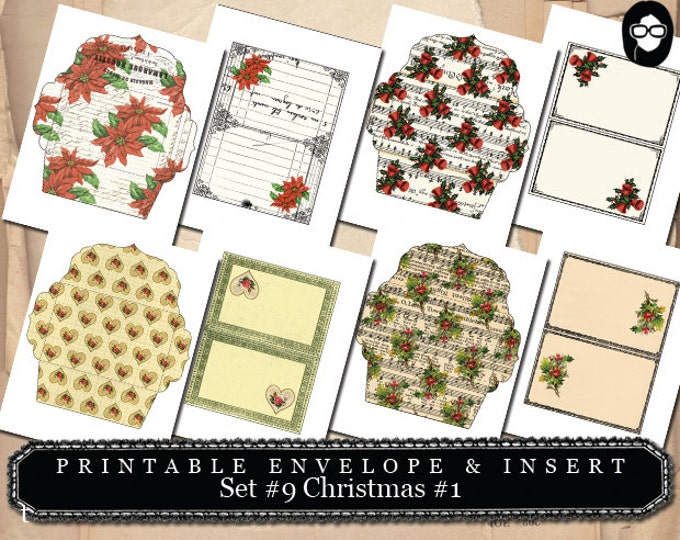 Mini Envelopes - Printable Envelope & Insert -  Set # 9 Christmas # 1 - 8 Page Instant download, merry christmas, rustic christmas