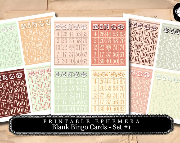 Blank Bingo Cards Set #1 - 2 Pg Instant Download - bingo digital roses floral, project life kit, junk journal supply