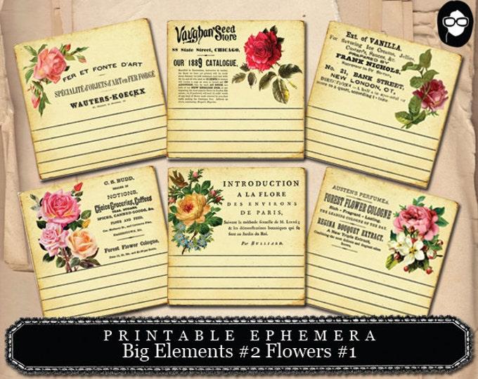 Art Journal Card - Big Elements #2 Flowers #1 - 3 Page Instant Download - pink rose clipart, printable, ephemera kit, ephemera pack