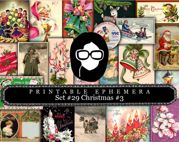 Christmas digital download - Ephemera Set #29 Christmas #3- 30 Pg download - Christmas journal kits, Christmas journal pages, ephemera pack
