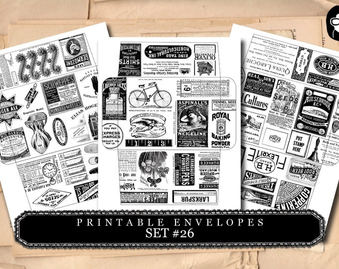 Envelope Templates - Set #26 - 3 Pg Instant download - envelope template, printable envelope, clipart floral, digital roses floral