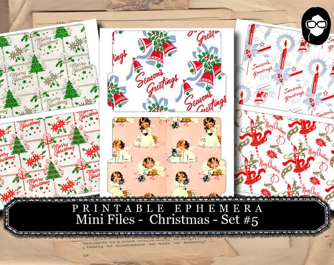 Christmas Clipart - Mini Folder Files - Christmas #5 - 3 Pg Instant Download - clipart christmas, clip art christmas, tsunamirose