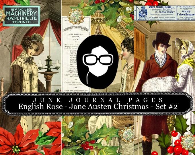 Jane Austen Christmas Journal Pages Set #2 - 3 Pg Instant Downloads -  sense and sensibility pride and prejudice, jane austen quote, regency