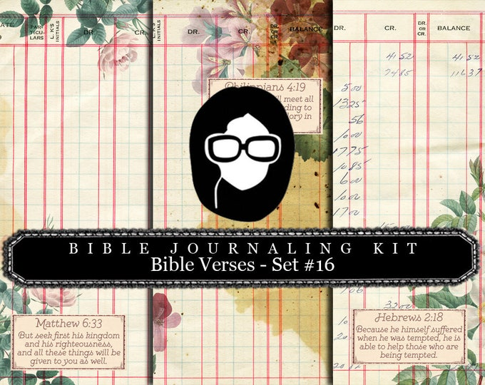 Prayer Journaling - Bible Verse Set #16 - 3 Pg Instant Downloads - digital rose paper, bible verses diy, scripture art, bible journaling kit