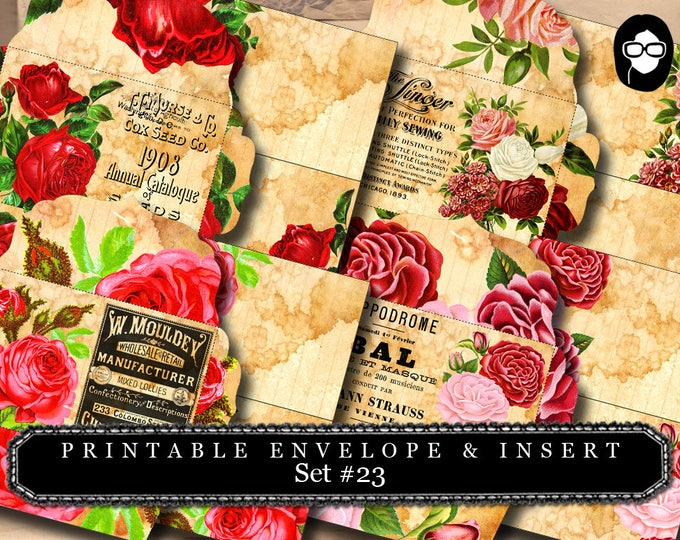 Envelope Templates & Insert - Set #23 - 8 Pg Instant download - envelope template, printable envelope, clipart floral, digital roses floral