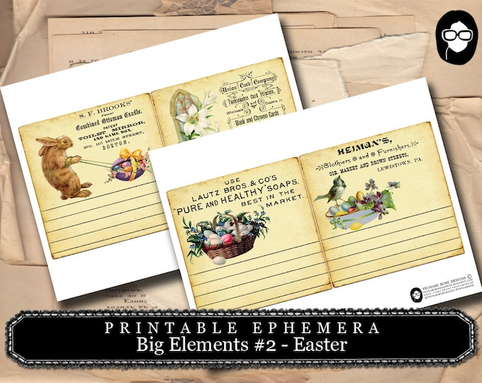 Art Journal Card - Big Elements #2 Easter Printable - 3 Page Instant Download - pink rose clipart, printable, ephemera kit, ephemera pack