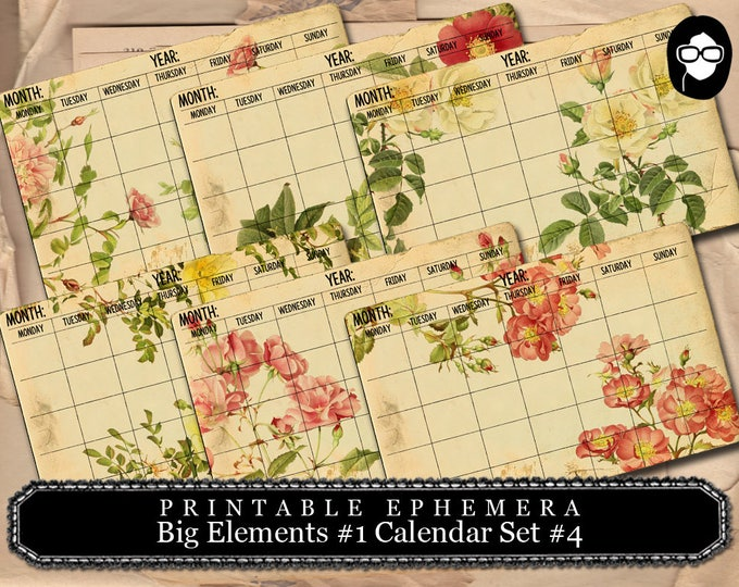 Roses Clipart - Big Elements #1  Calendar Set #4 - 3 Page Instant Download - junk journal supply, project life kit, mixed media art kit