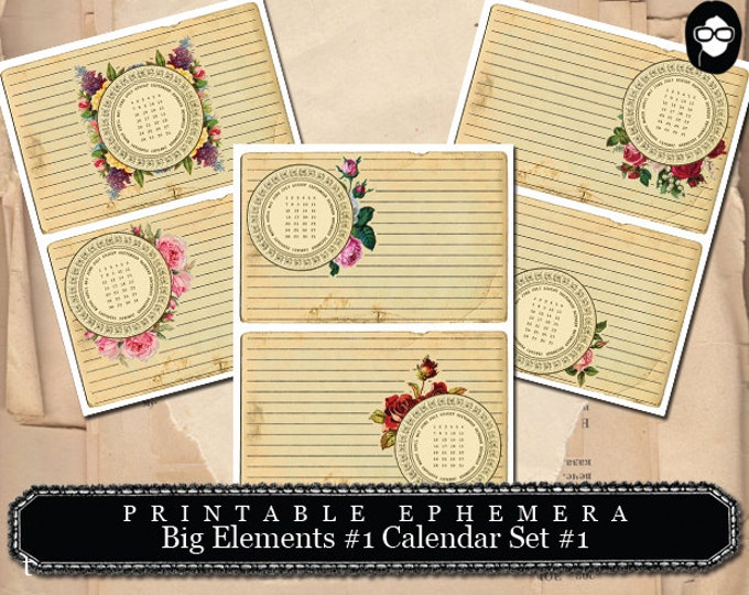 Printable Calendars - Big Elements #1 Calendar #1 - 3Page Instant Download - blank journal cards, digital journal kits, roses clipart floral