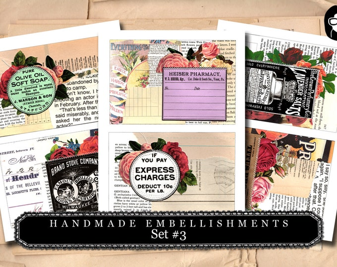 Handmade Embellishments - Set #3 - 3 Page Instant Download