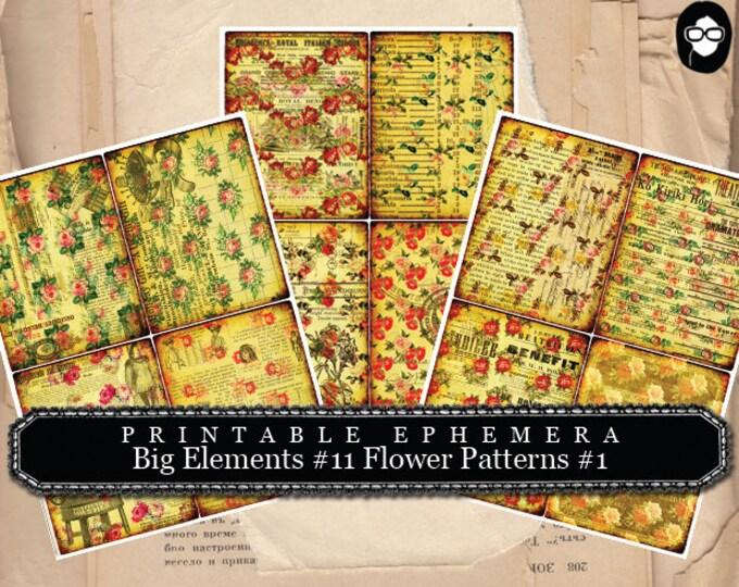 Blank Journal Cards - Big Elements #11 Flower Pattern #1 - 3 Pg Instant Download - altered art kit, roses clipart floral, digital collage