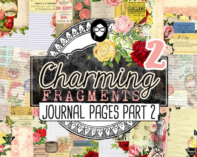 Journaling Kit - Charming Fragments P2 - Journal Pages P2 - 8 Pg Digital Download - art journal kit,  junk paper pack, digital paper pack