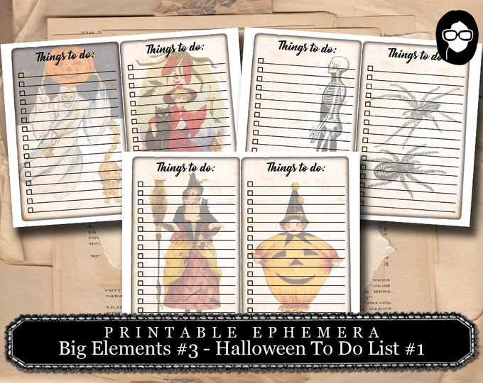 Halloween Clipart -  Big Elements #3 Hallowee To Do List Set #1- 3 Page Instant Download -  spooky digital paper, journaling cards,