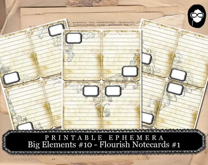 Art Journal Card - Big Elements #10 Flourish Notecards #1  - 3 Page Instant Download - journaling cards, journal cards, digital journal card